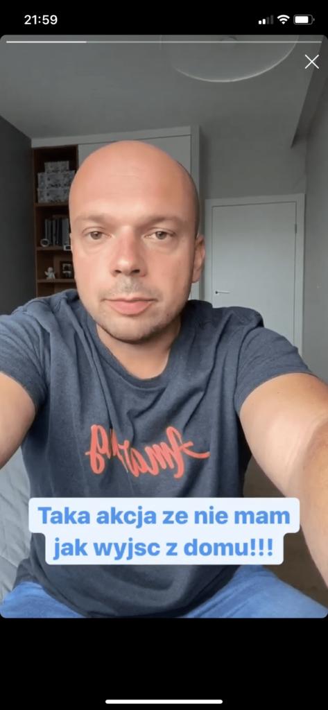 Piotr Weppe instastory w domu